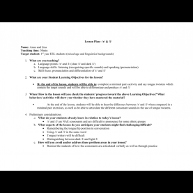 Useful Lesson Plan Objectives For Pronunciation Lesson Plan - /r/