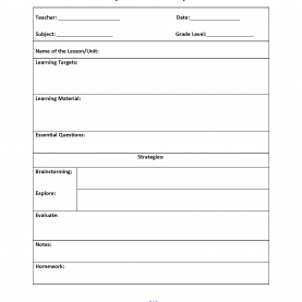 Useful Lesson Plan Template With Essential Questions Six Step Lesson Plan Template | Interactive Grammar Book 9-201