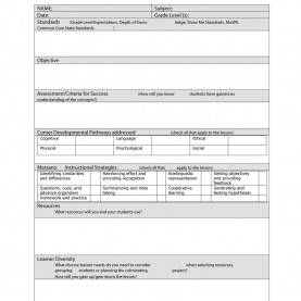 Useful Lesson Plan Templates Common Core Marzano Lesson Plan Template | Business Temp