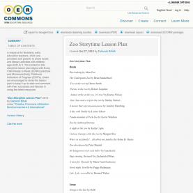 Useful Lesson Plan Zoo Zoo Storytime Lesson Plan | Oer Com