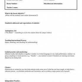 Useful Madeline Hunter Lesson Plan Guide Madeline Hunter Lesson Plan Template | Business Temp