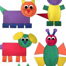 Useful Preschool Lesson Plans On Shapes Shape Animal Crafts Bundle | Help Teaching, Construction Paper An