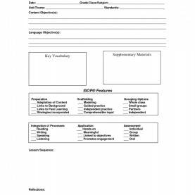 Useful Siop Lesson Plan Template Printable 20 + Siop Lesson Plan Template Images œ? Daily Lesson Pla