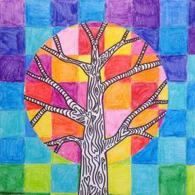 Valuable Art Lesson Plans Warm And Cool Colors Warm & Cool Trees | Tinyart