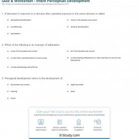 Valuable Infant Development Lesson Plans Quiz & Worksheet - Infant Perceptual Development | Study
