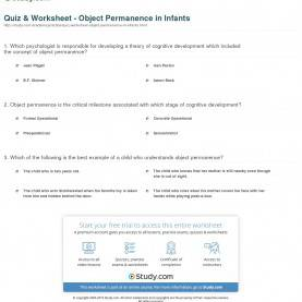 Valuable Infant Lesson Plans Cognitive Quiz & Worksheet - Object Permanence In Infants | Study