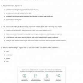 Valuable Lesson Plan Aims And Objectives Examples Quiz & Worksheet - Creating Student Learning Objectives | Study