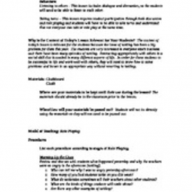 Valuable Lesson Plan Objectives For Role Playing Solution: Role Playing Lesson Plan (Case Study 10.2 Lesson Pla