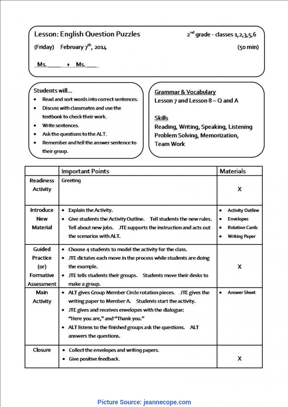 teaching lesson plan templates