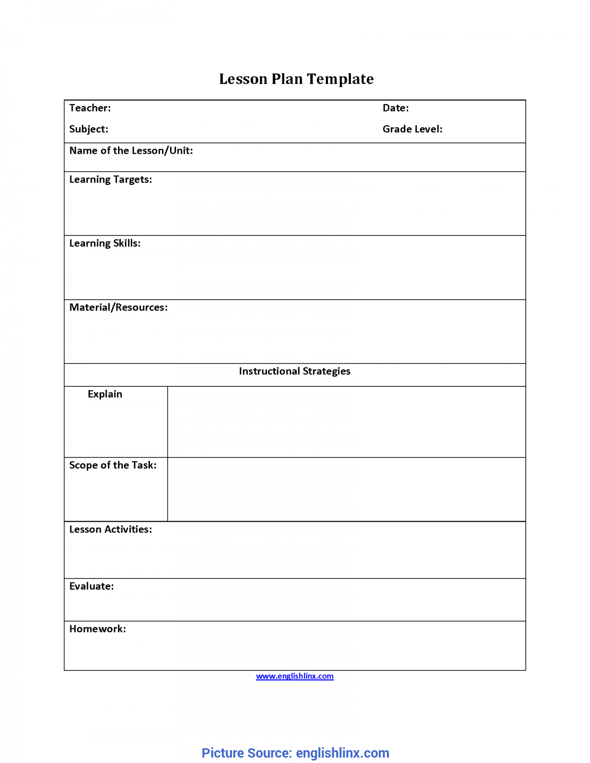 Basic Lesson Plan Template The Free Website T Ota Tech