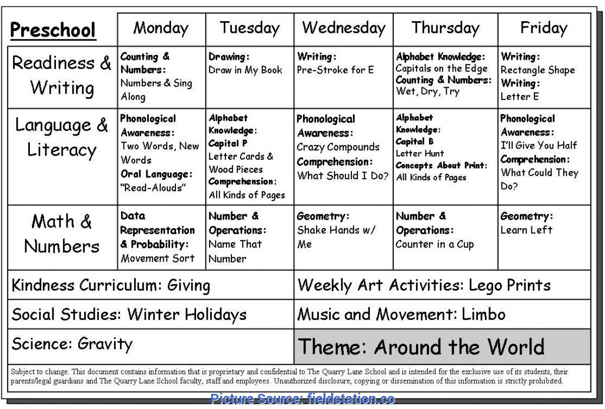 Top Lesson Plan Example For Preschool Weekly Lesson Plan For Preschool - Fieldstatio