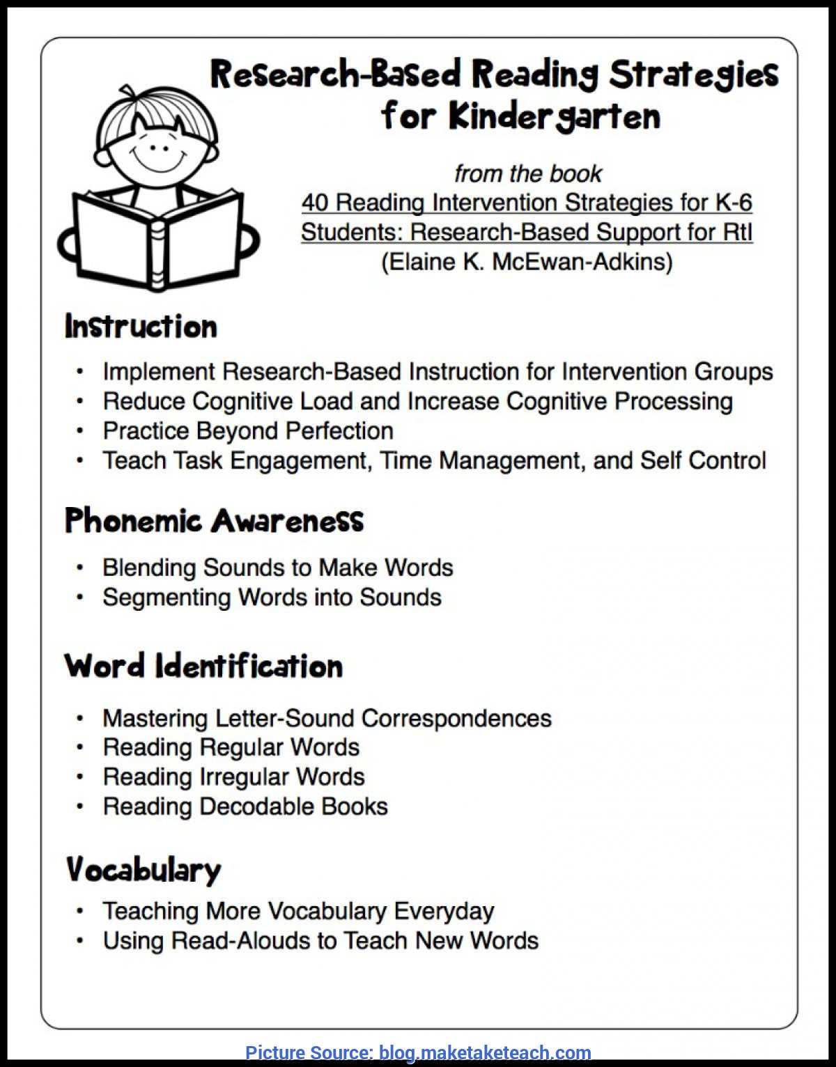 Top Lesson Plan For Kindergarten Reading Research-Based Reading Intervention Strategies - Make Take & T