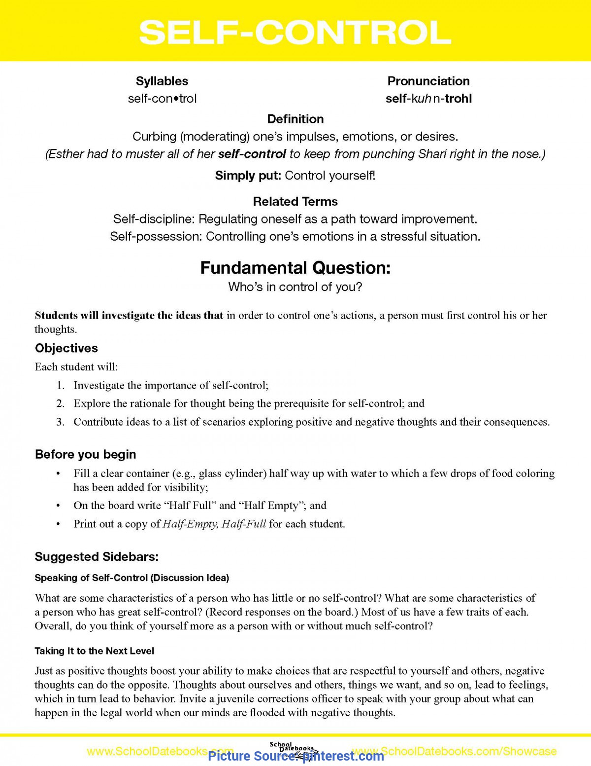 Top Lesson Plan For Teaching Group Work Self-Control - Character Lesson Plan. Free, Downloadable, 52 Tota