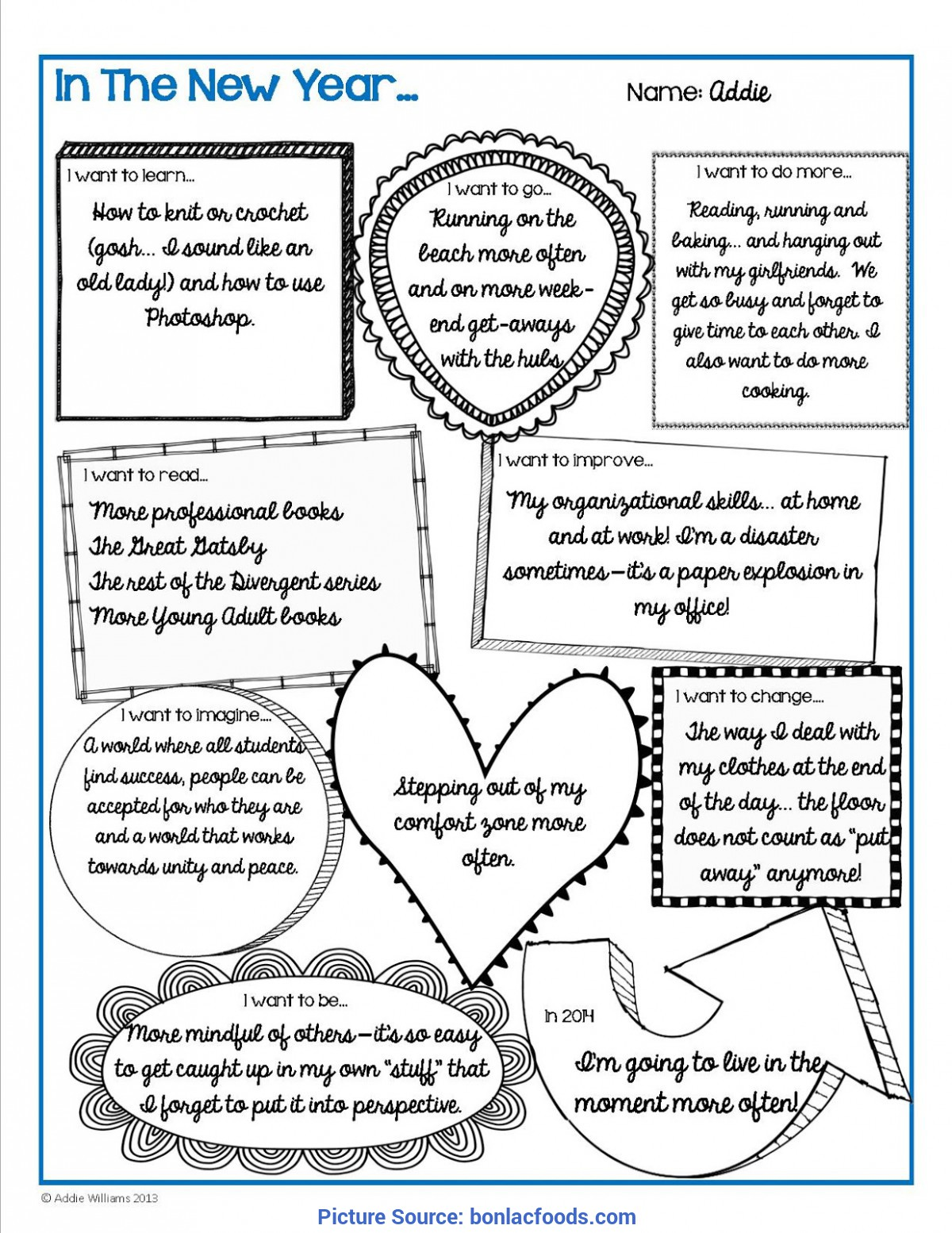 picture about New Year's Worksheets Printable named Progress Frame of mind Refreshing Calendar year Package (PDF) Printable worksheets, Mi