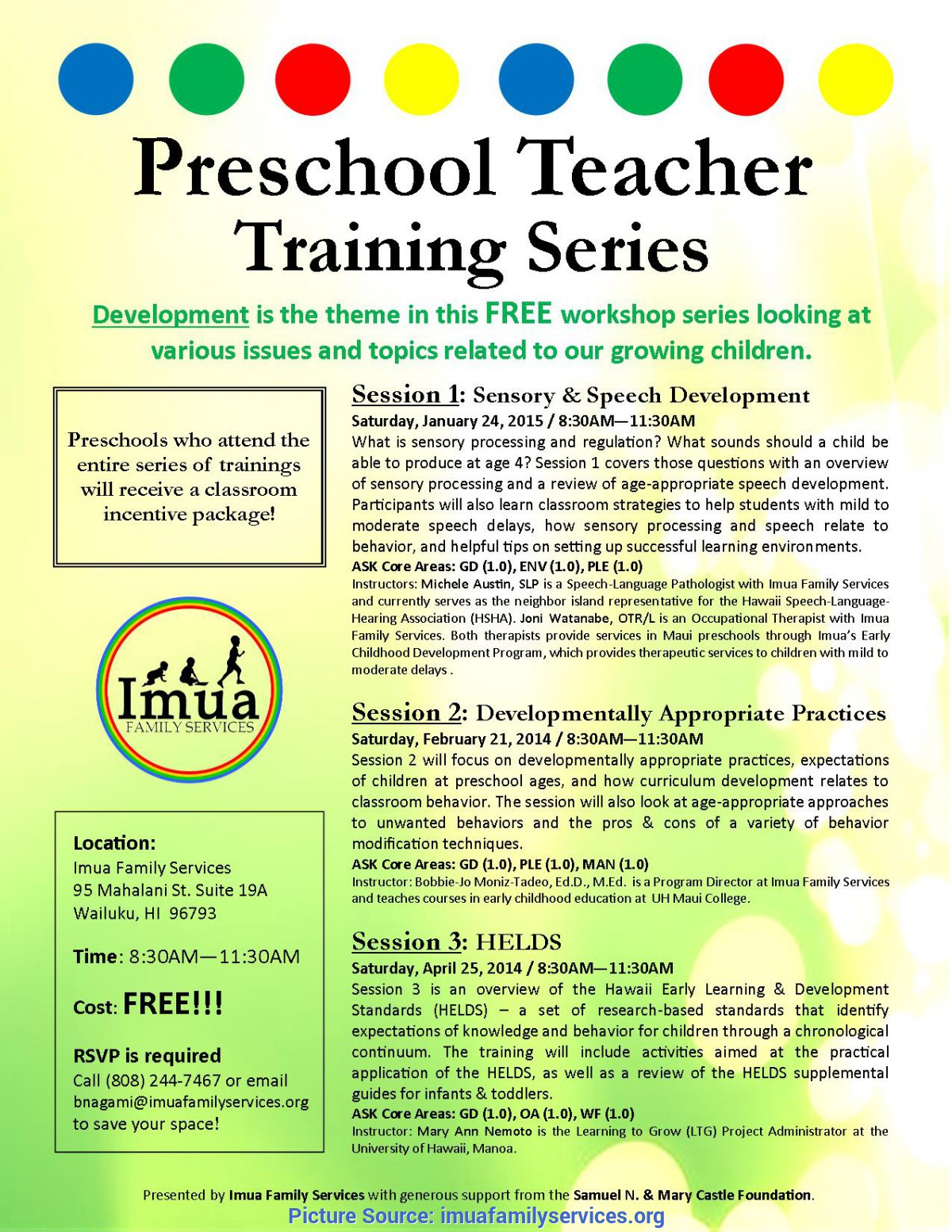 Top Preschool Learning Topics Preschool Teacher Training- Helds €? Hawaii Early Learnin
