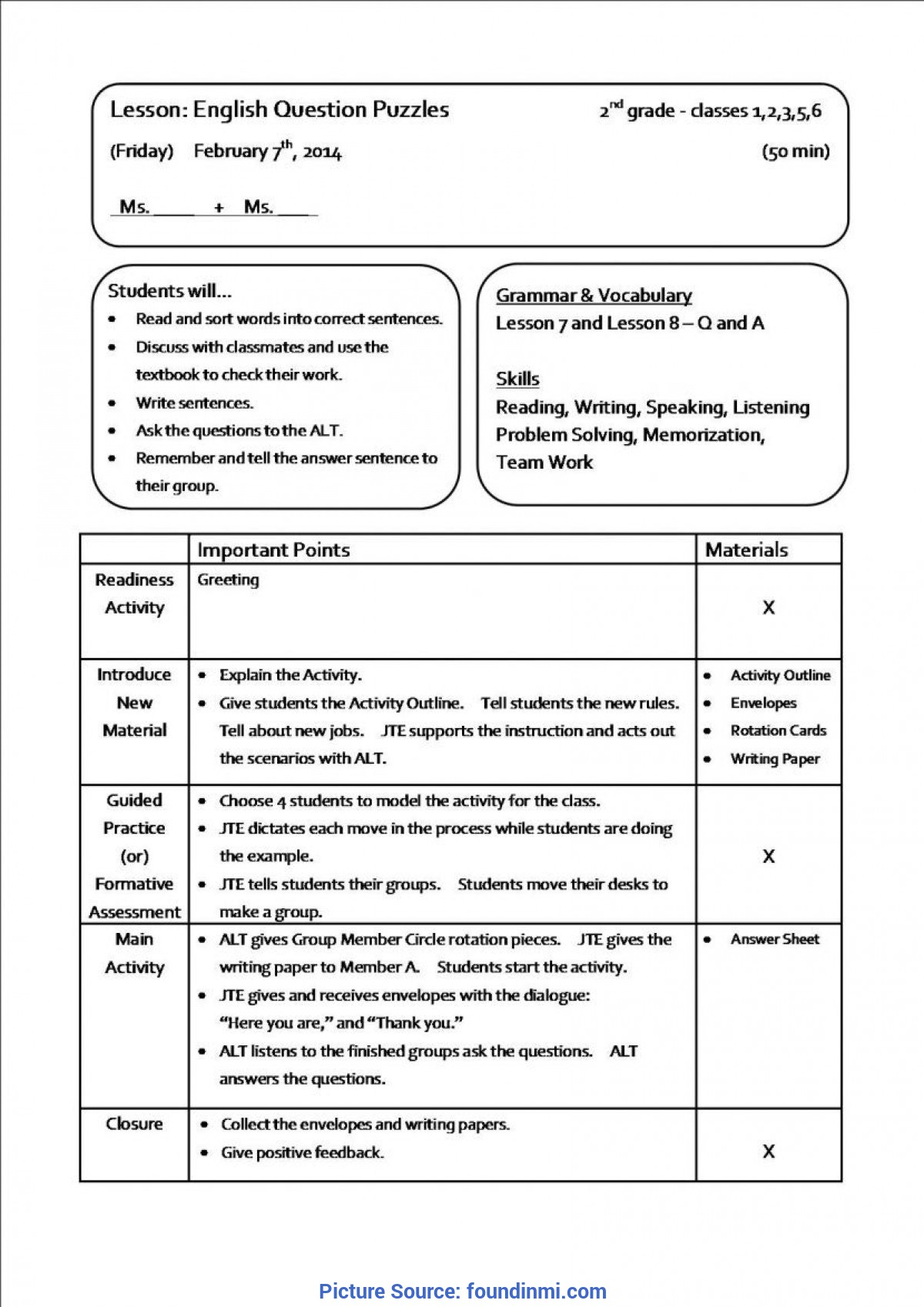 Trending Teaching Plan Example 35 Co Teaching Lesson Plan Template Famous €? Found