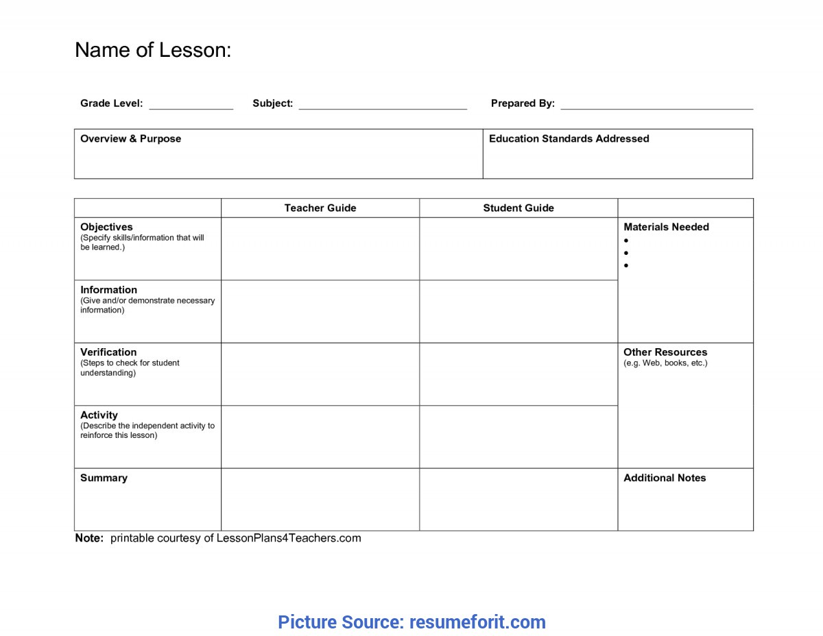 Typical Lesson Plan Example Doc Daily Template