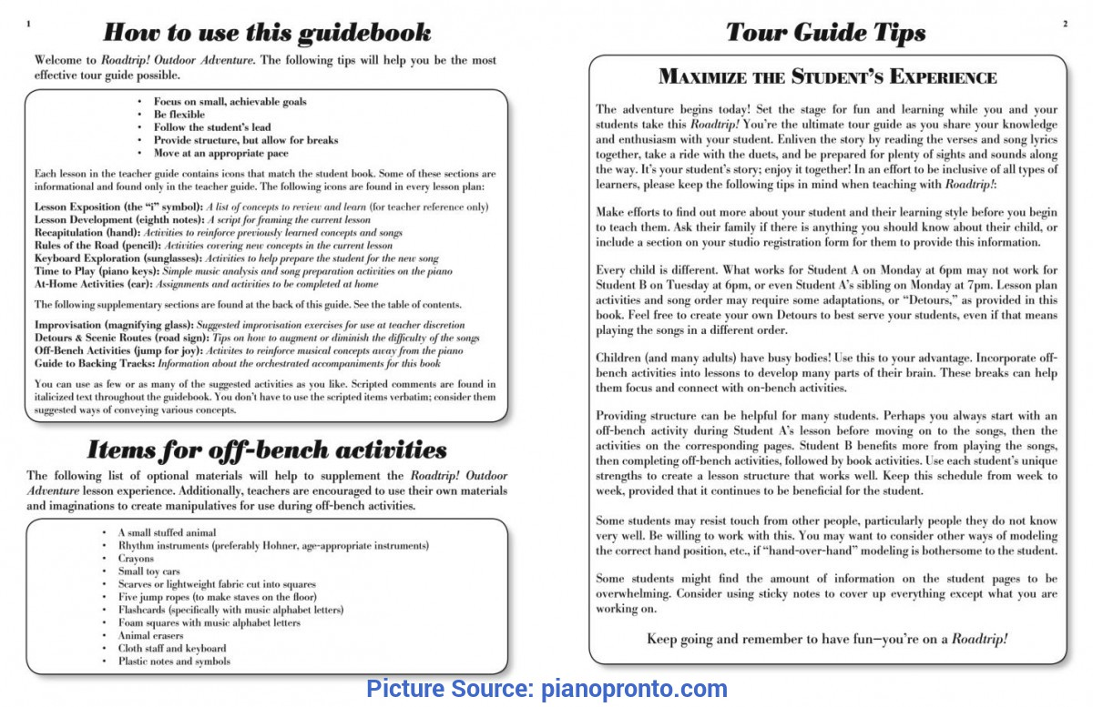 Typical Lesson Plan Guide Book Roadtrip!™ Outdoor Adventure Teacher Guidebook & Duets | Hardcop