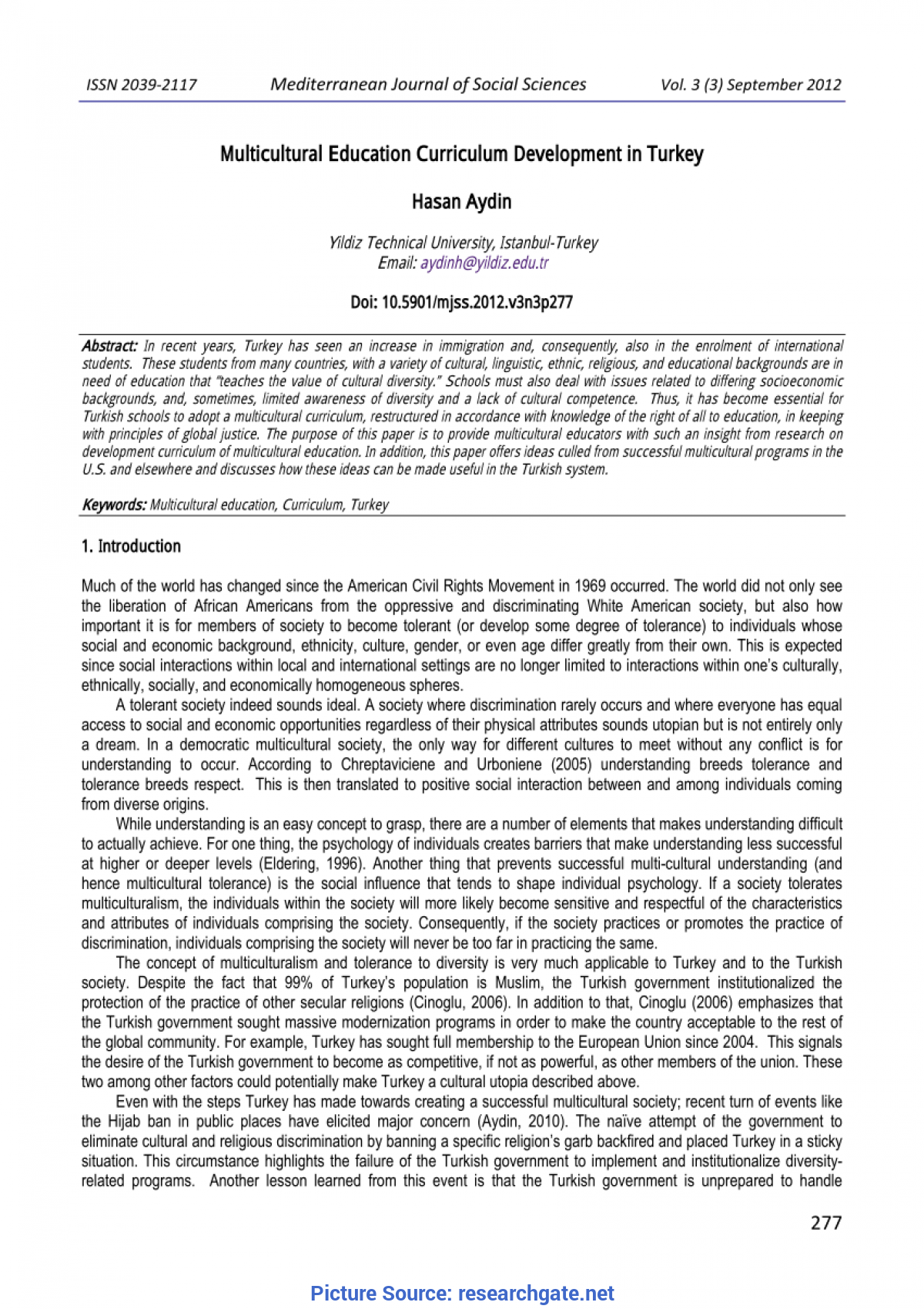 Typical Multicultural Education Curriculum Multicultural Education Curriculum Development In Turkey (Pd