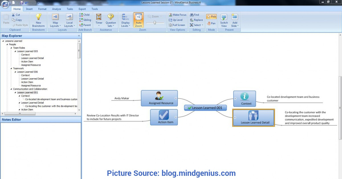 Typical Quality Lessons Learned Template More Mindgenius - Mind Mapping Software: Improving Lessons Learne