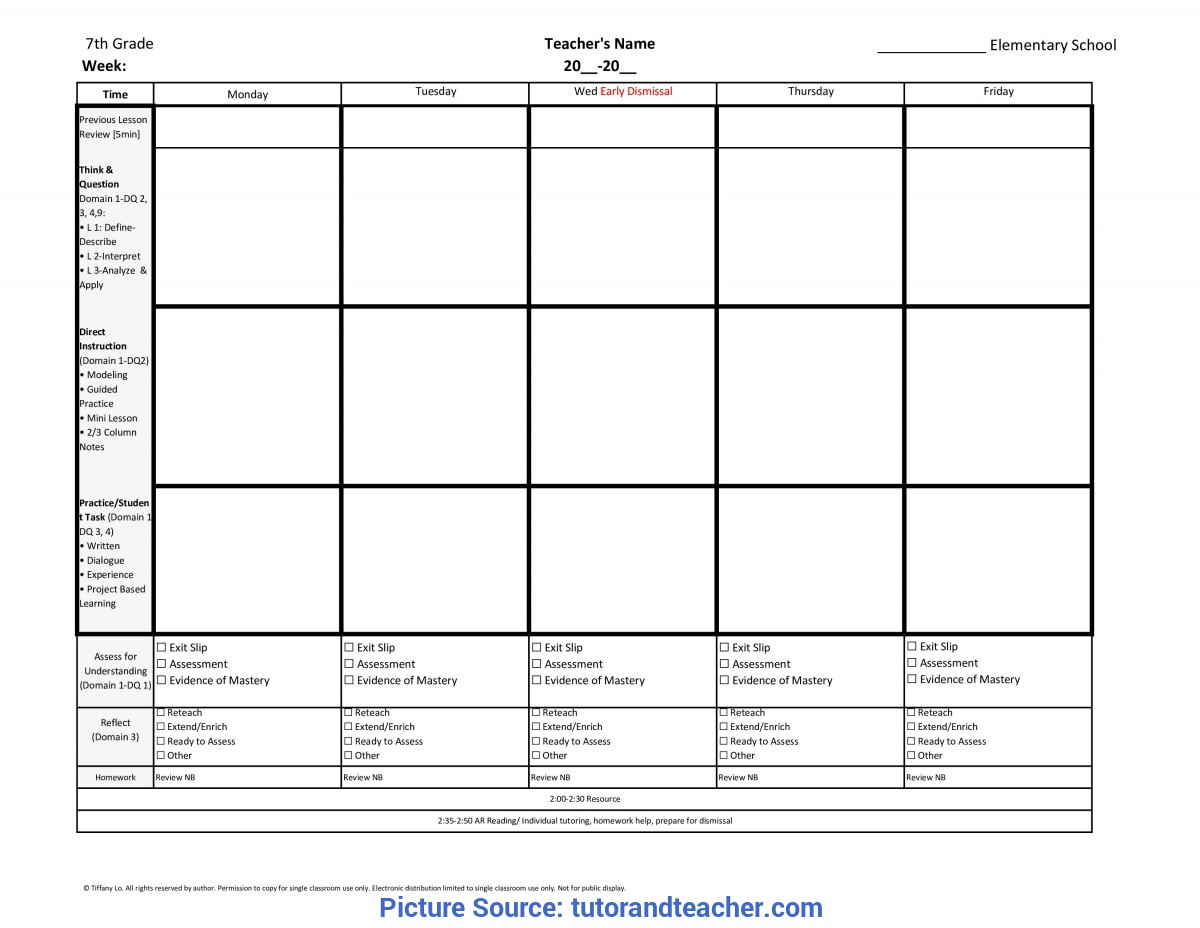 Typical Reading Lesson Plan Template 7Th Seventh Grade Weekly Lesson Plan Template W/ Florida Standard