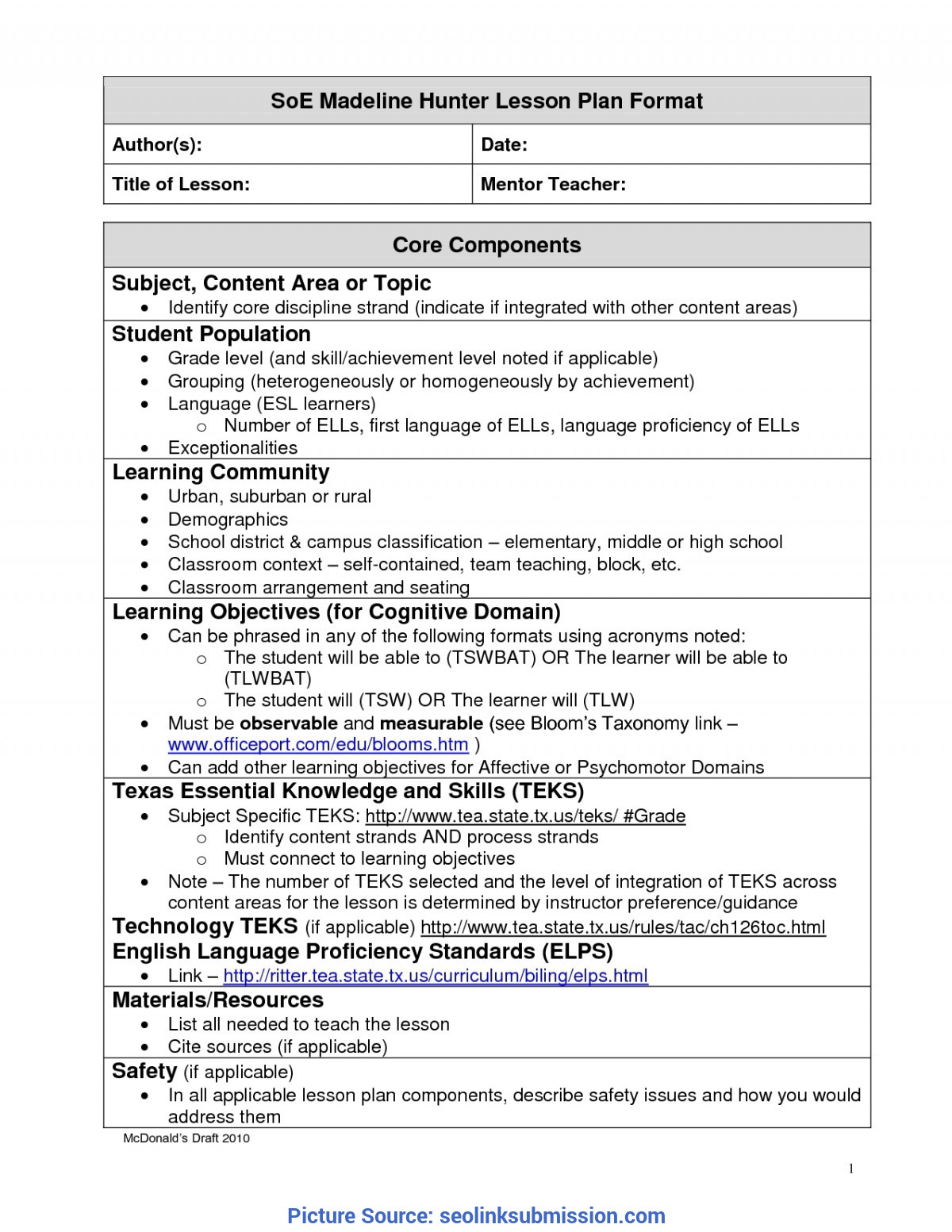 Unusual A Modern Version Of Madeline Hunter Lesson Plan Template