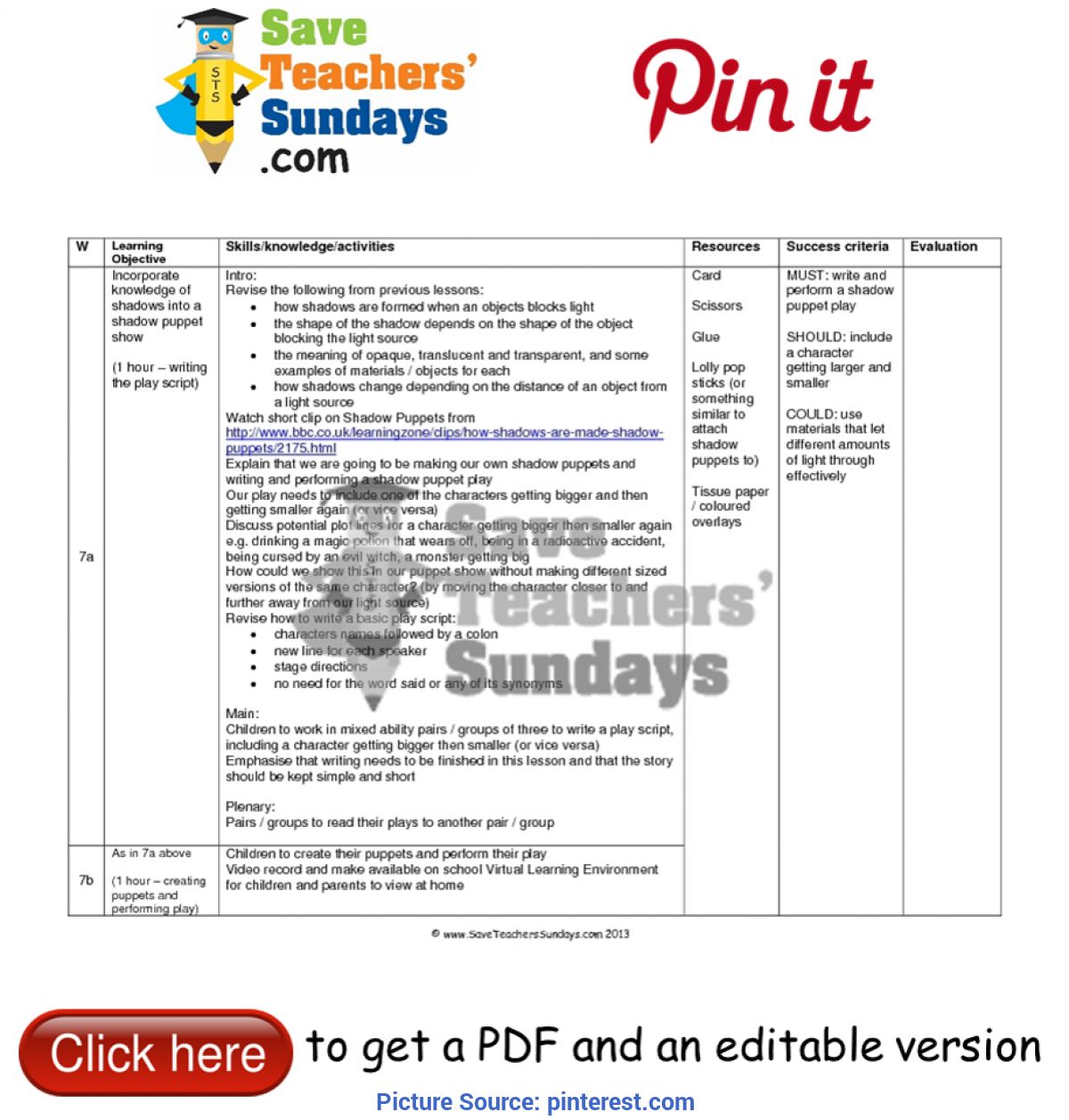 Unusual English Lesson Plan Year 3 Shadow Puppet Show Lesson Plan. Go To Http://ww