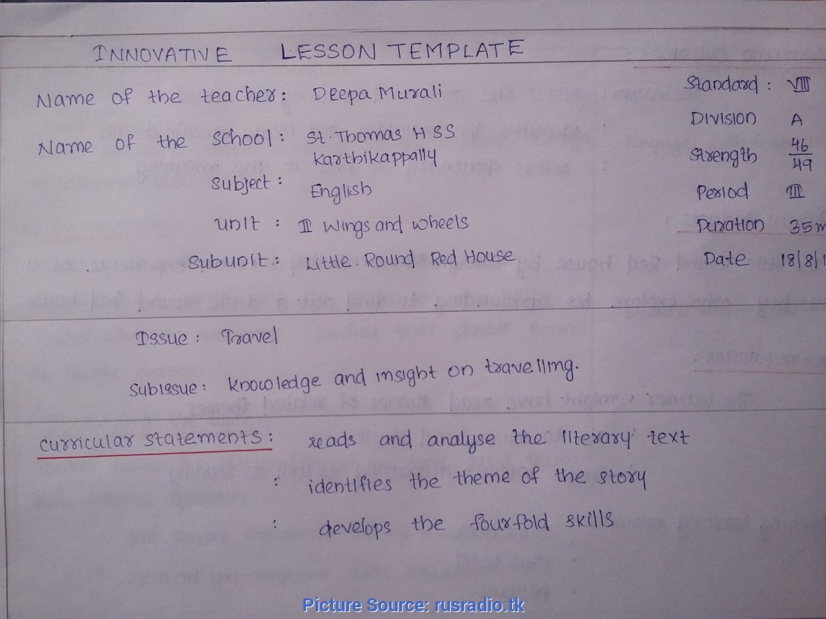 Unusual Lesson Plans For Teachers In English Lesson Plan