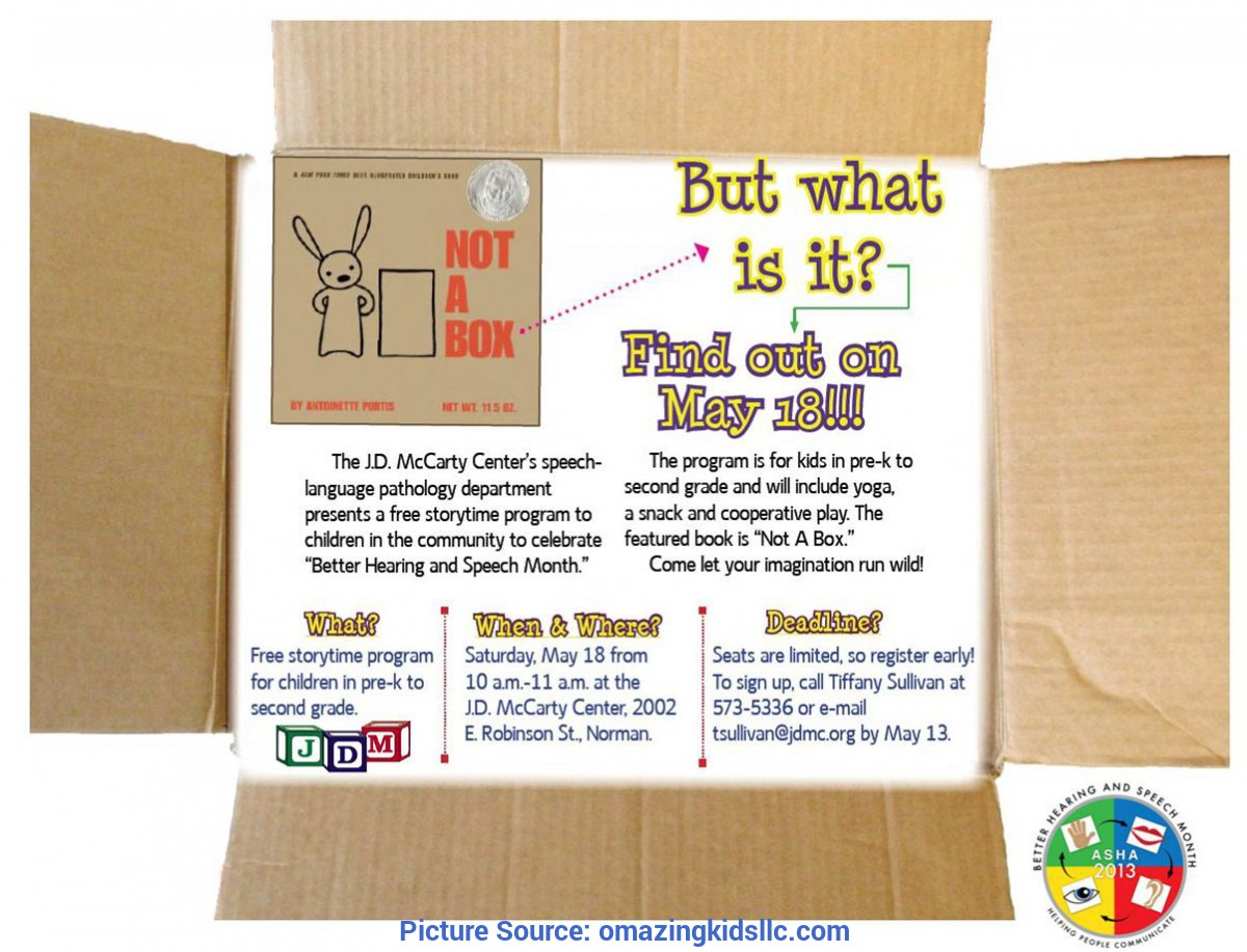 Unusual Lesson Plans For The Book Not A Box Free Storytime Event At The Jd McCarty Center On 5/18/13 | Omazin