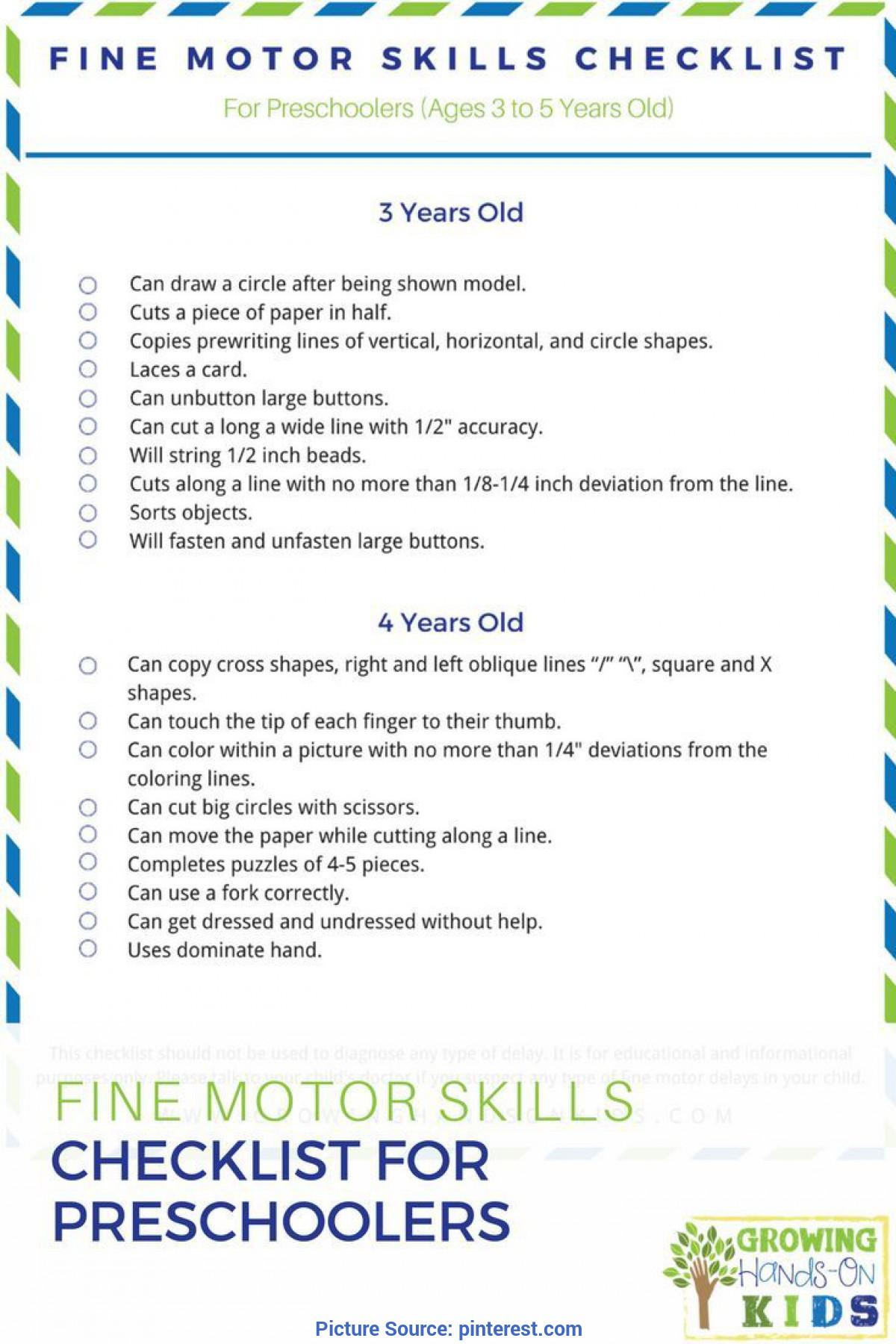 Unusual Preschool Lessons For 4 Year Olds Fine Motor Skills Checklist For Preschoolers (Ages 3-5 Years Ol