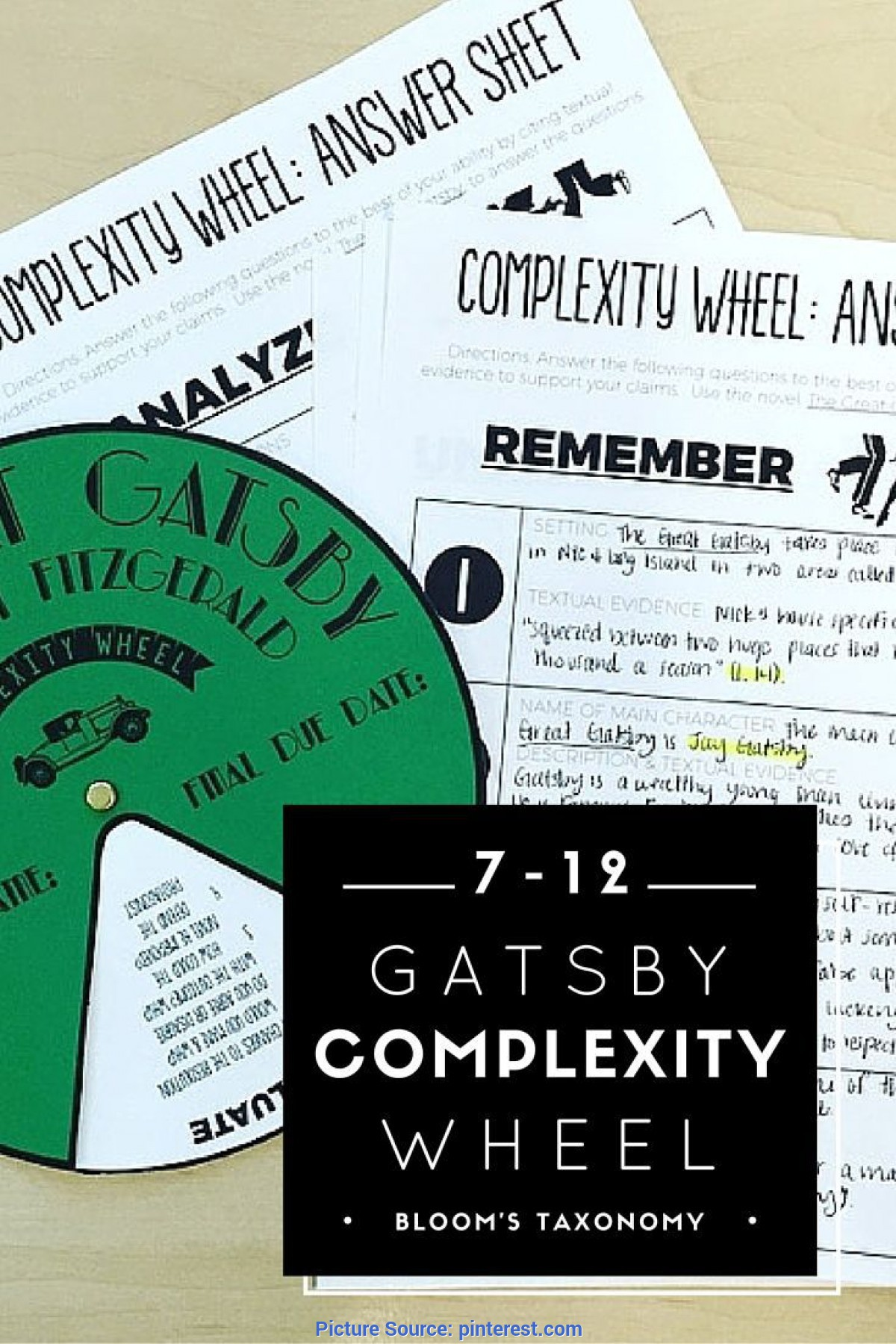 Unusual Reading Activities For High School English Complexity Wheel: The Great Gatsby | High School English, Gatsb