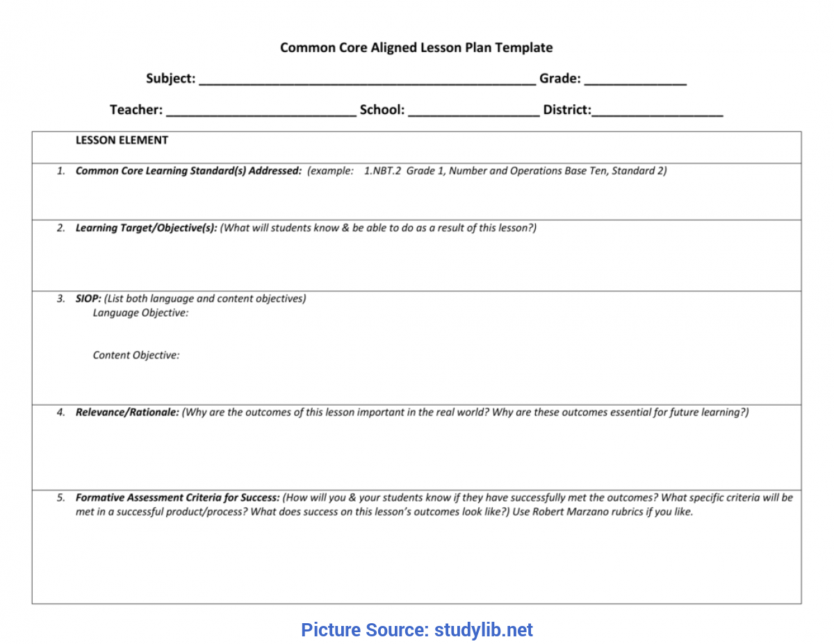 Unusual Siop Lesson Plan Template 1 Word Document Temp