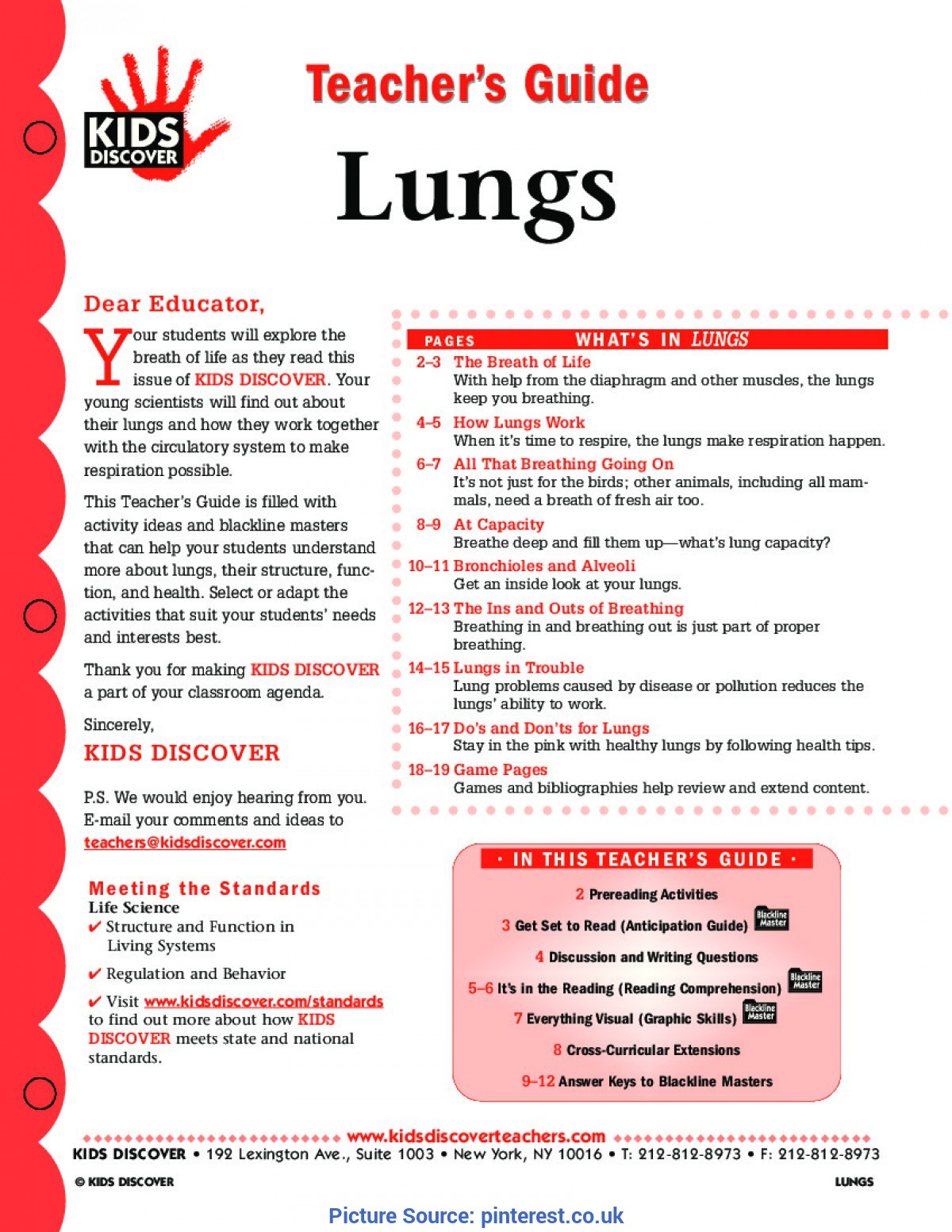 Useful 5Th Grade Life Science Lesson Plans This Free Lesson Plan For Kids Discover Lungs Will Help You Teac