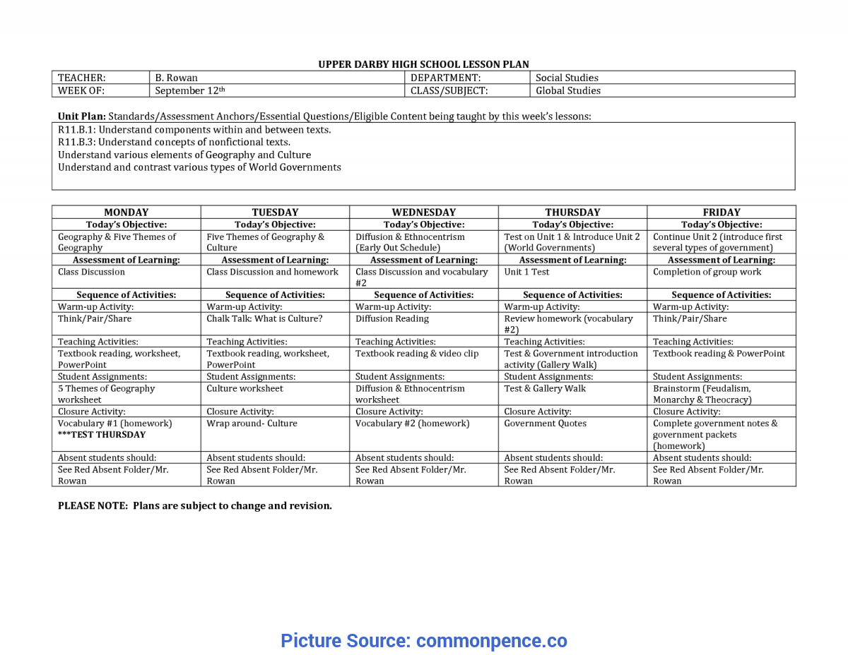 Useful Lesson Plan Example For High School School Lesson Plan Template - Commonpenc