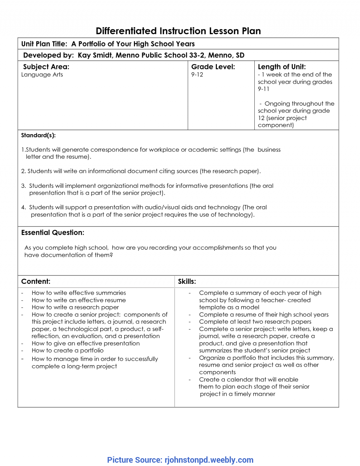 Useful Lesson Plan Template Differentiated Instruction Free Instruction - Professional Develop