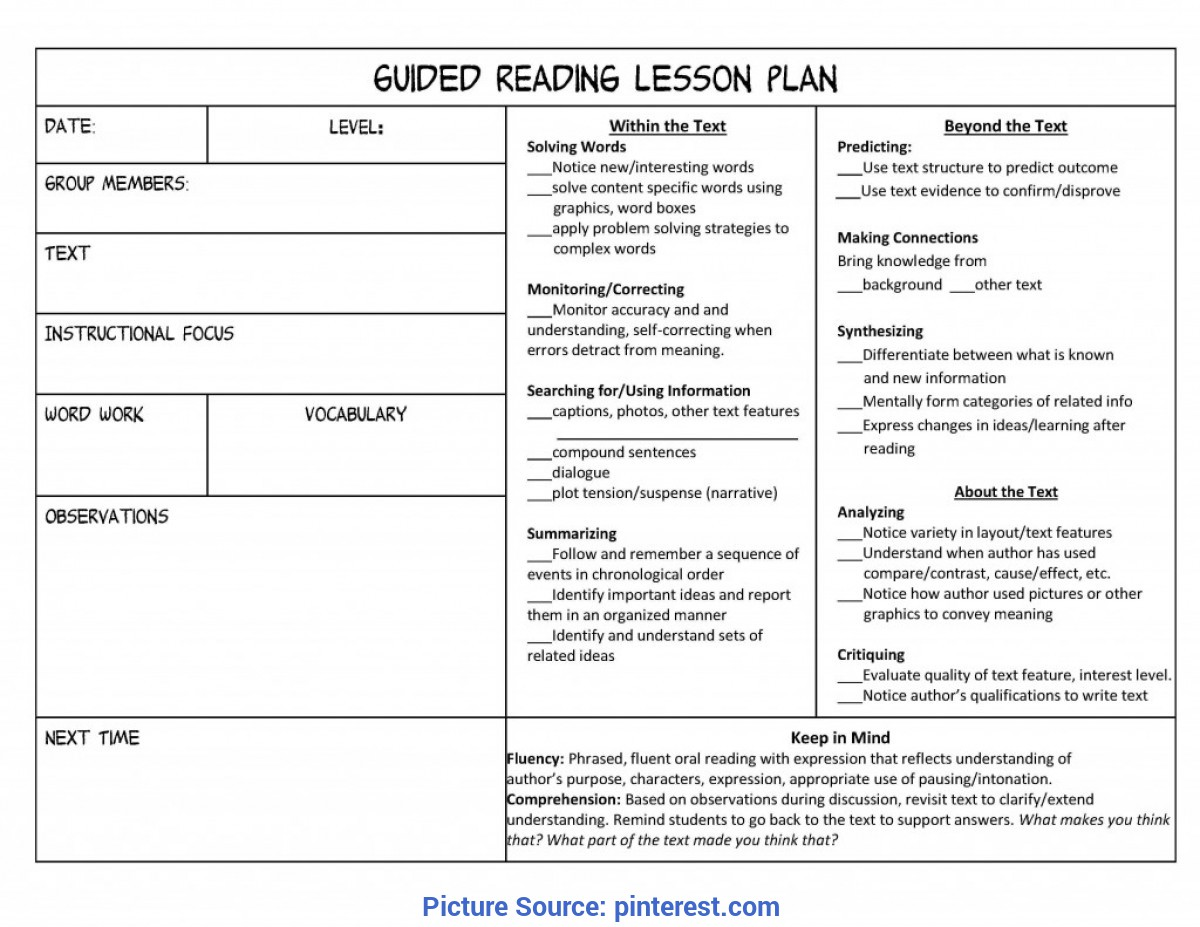 Useful Reading Lesson Plan 6Th Grade Daily Lesson Plan Template | Free Small, Medium And Large Image