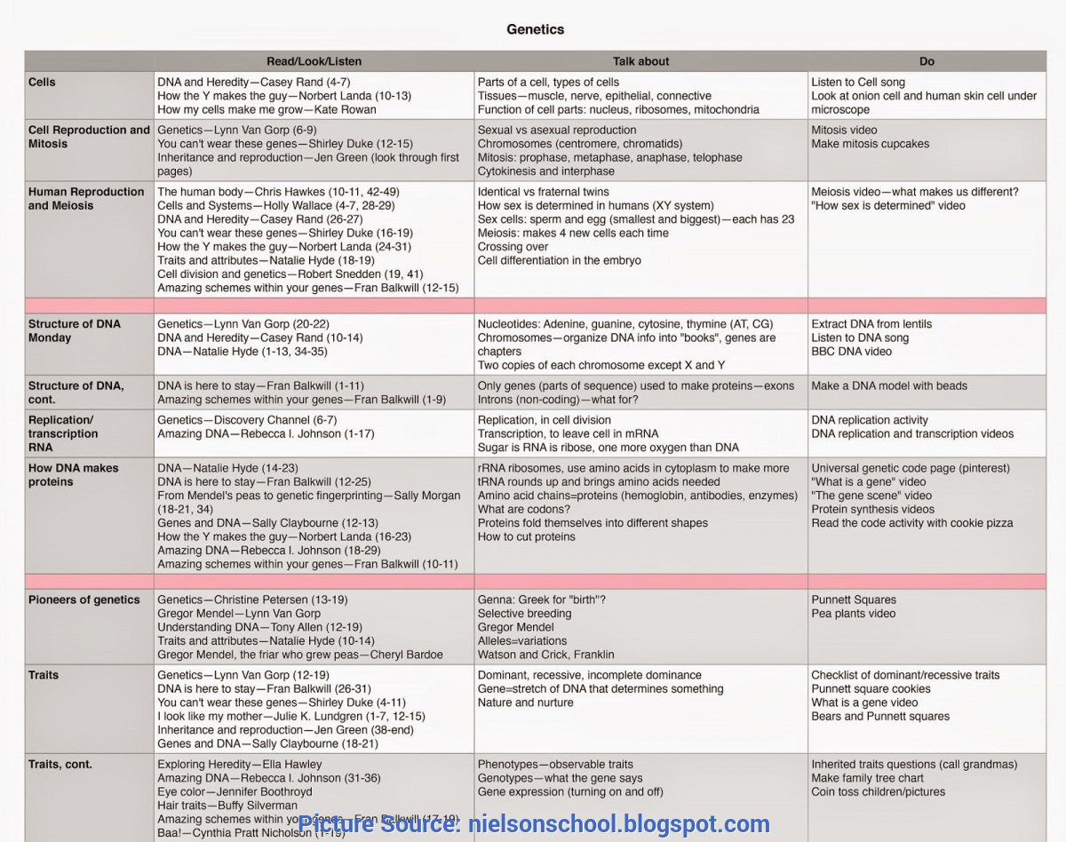 Best Dna Lesson Plan A School Of Fish: Dna And Genetics Unit Schedule And Lesson