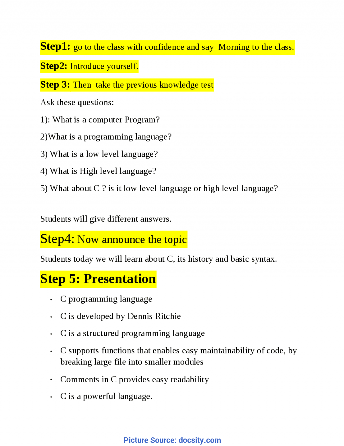 Complex Lesson Plan For Computer Science For High Schools C Lesson Plan - Doc