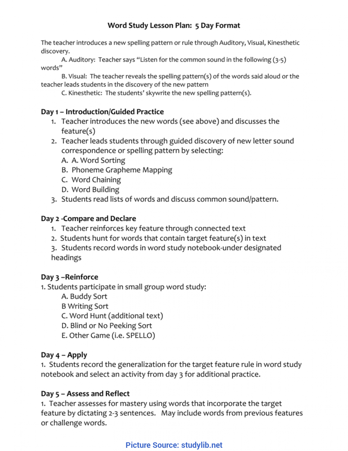 Excellent Generalization In Lesson Plan Sample -Word Study Lesson Plan / Weekly Routine (5 D