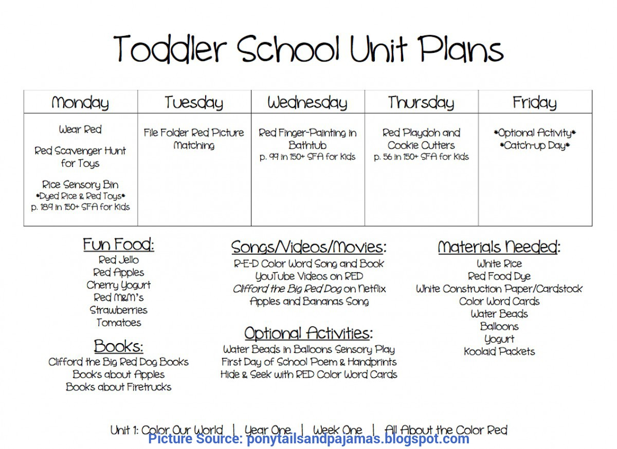 Excellent Lesson Plans For Toddlers On The Color Red Ponytails And Paj