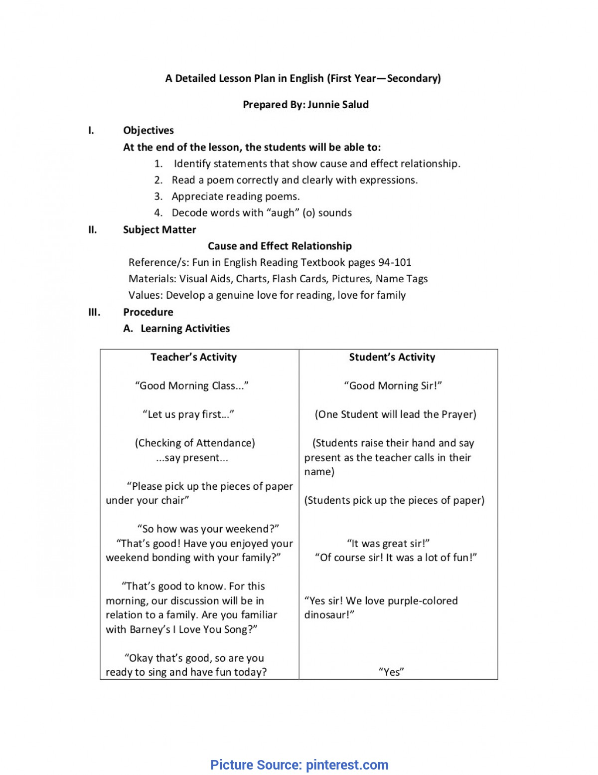 fresh sample detailed lesson plan in english grade 1 detailed lesson plan english math science filipino by junni 4978 - Kindergarten Science Lesson Plans
