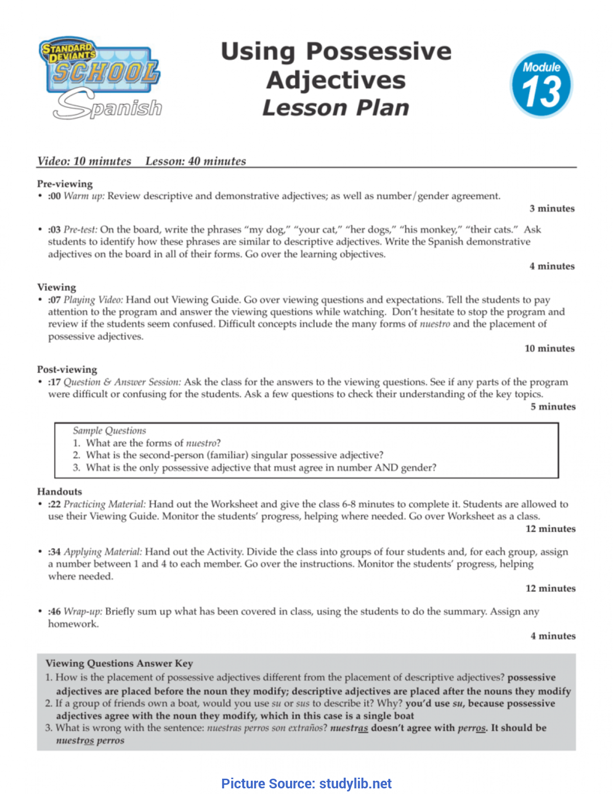 Good Lesson Plan Objectives Adjectives Using Possessive Adject