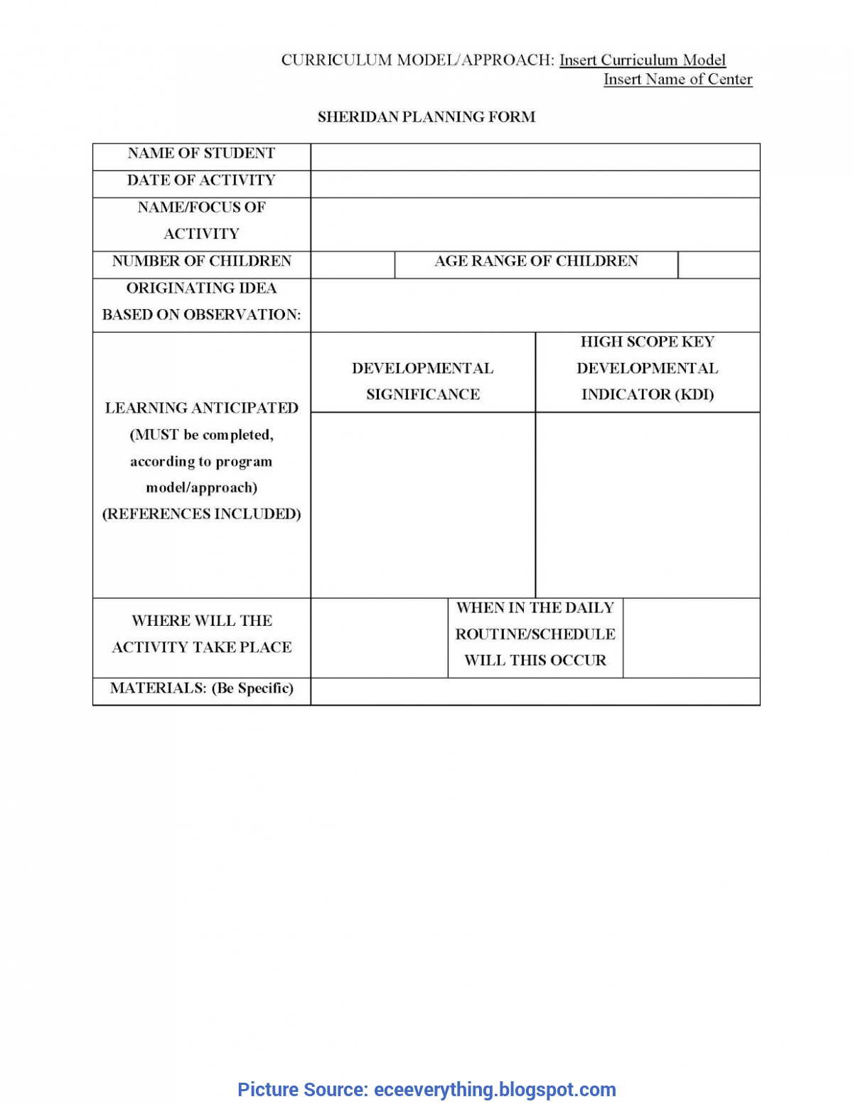 Newest Early Childhood Planning Template Early Childhood Education : Ece Planning Form Template (2