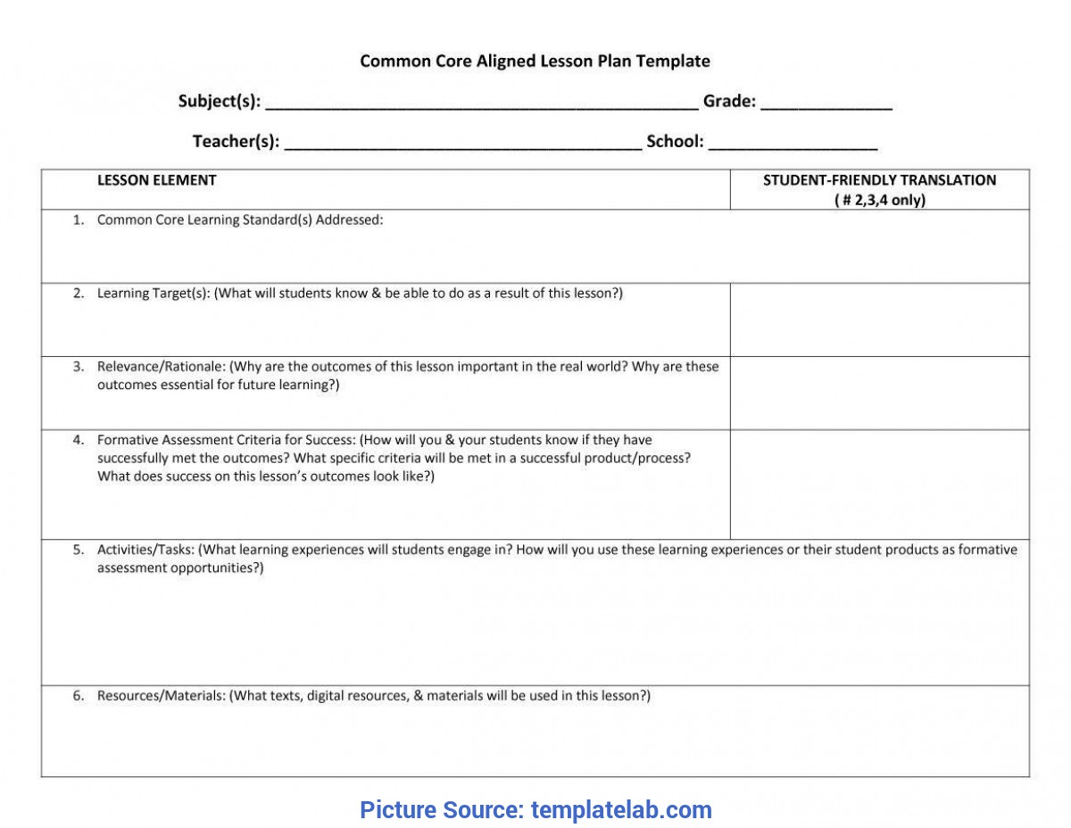 Regular Student Lesson Plan Template 44 Free Lesson Plan Templates [Common Core, Preschool, Wee