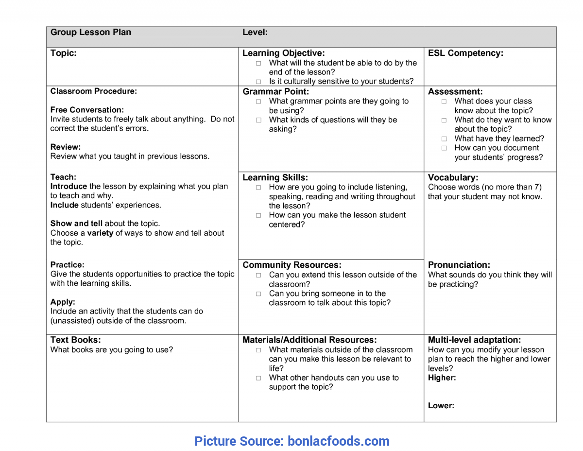 Special Lesson Plan Sample Esl Worksheets For All | Download And Share Worksheets | Free O
