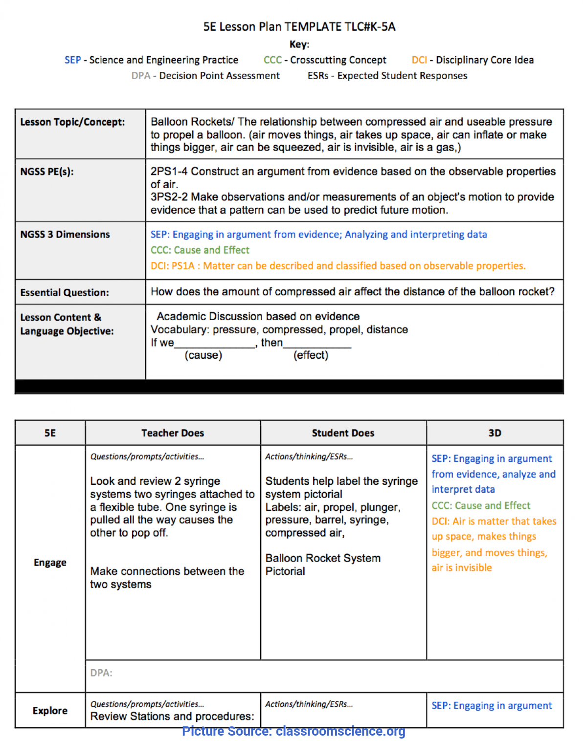 Special Lesson Plan Template Ngss California Classroom Science » Tools For Creating Ngss Standard