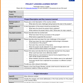 Best Cmmi Lessons Learned Template 3+ Lessons Learned Template   Assistant Cover Le