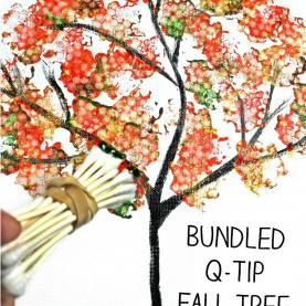 Briliant Fall Painting Ideas For Toddlers Easy Bundled Q-Tip Stamped Tree Paintings For Every Season. Winte
