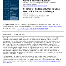 Briliant Madeline Hunter 7 Step Lesson Plan It'S Time For Madeline Hunter To Go: A New Look At Lesson Pla