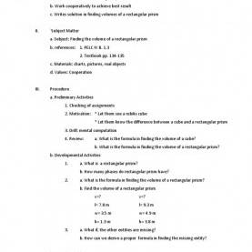 Briliant Traditional Lesson Plan Sample A Detailed Lesson Plan In Mathematics Subtraction Integer Detaile